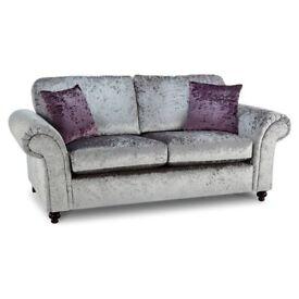 Marilyn 3 Seater Crushed Velvet silver shimmer sofa sattee