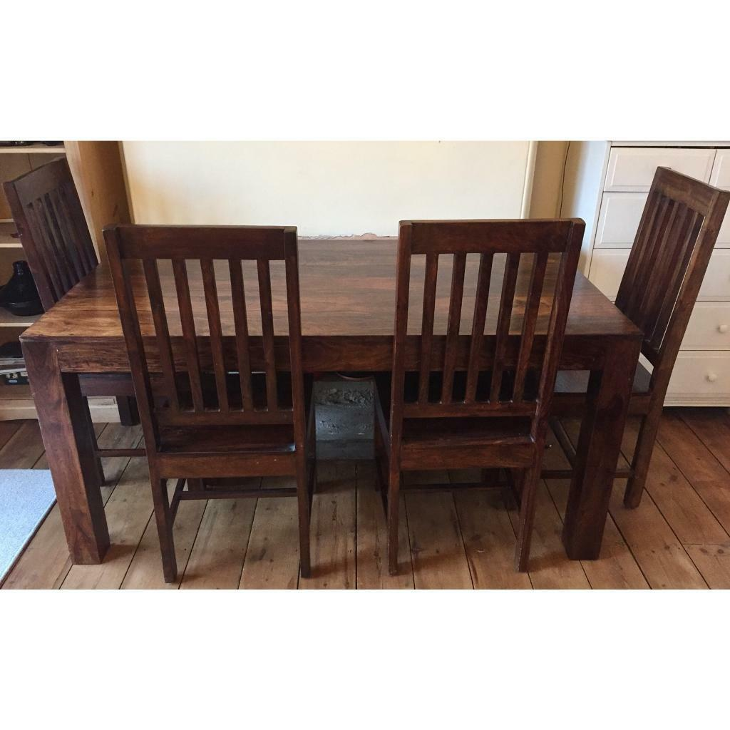 Dark Brown Solid Wood Dining Table And Chairs Set Exeter