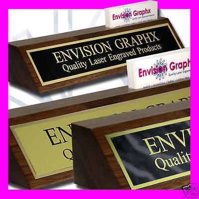 Custom Personalized Engraved Walnut Desk Name Plate Card Holder Award Gift J