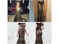 Black & Gold Formal Dress Size 10/12 New With Tags