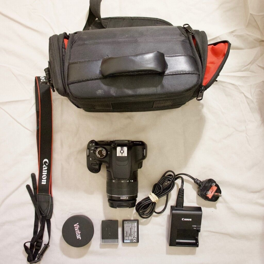 Canon 1200D DSLR W EFS 18 55mm Lens Bag Wide Converter Battery Screen Protectors And Charger