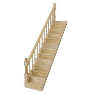 Dollhouse-Wooden-Staircase-Stairs-with-Left-Fixed-Guard-Rail-Kit-Pre-Assembled