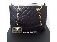 CHANEL GST Tote Bag. Brand New. Calfskin Leather. Black and Gold.