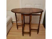 Antique Oak Barley Twist Drop Table 1930s