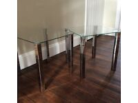 2 X glass and chrome coffee tables
