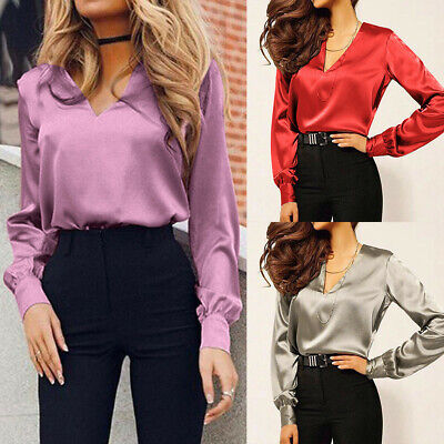 Women Shirt V-Neck Satin Blouse Casual Long Sleeve Work Office Elegant Sexy (Satin Long Sleeve)