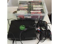 RETRO GAMING : original XBox games console with controllers and 46 games
