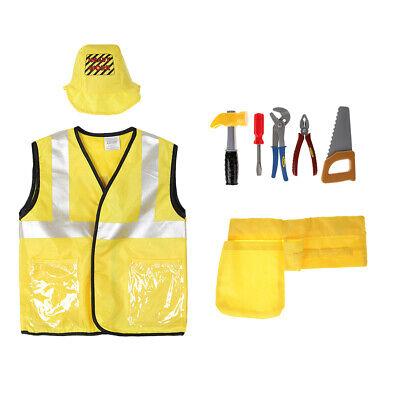 8pcs/Set Kids Construction Worker Costumes Uniform Outfit Halloween Dress Up