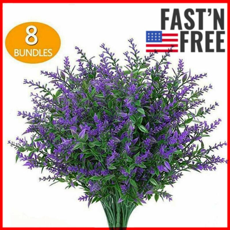8 Bundles Artificial Flowers Plastic Fake Outdoor Plants Faux UV Resistant Decor