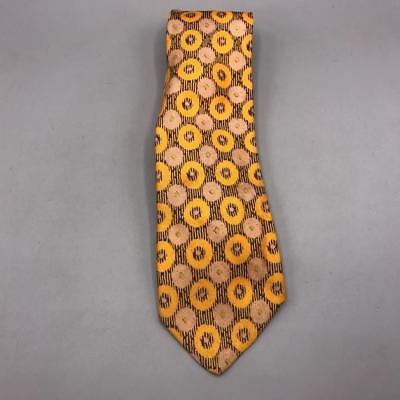 1960s – 70s Men's Ties | Skinny Ties, Slim Ties Vintage Yellow Design Silk Tie Necktie 3