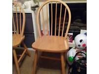 solid pine kitchen chairs two