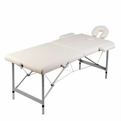 vidaXL Mesa de Masaje Camilla Aluminio Plegable 2 Zonas + Bolsa, Blanco...