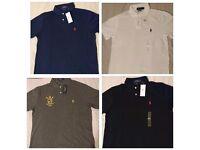 Authentic Men's Polo Ralph Lauren Short Sleeve T Shirts Custom Fit Large Medium Collar Small Pony's