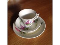 Vintage cup, saucer and plate set, good condition and unusual design.