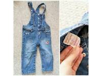 Size 2 years denim dungarees