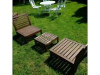 a set of low-level wooden garden furniture can deliver