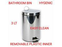 Bathroom Pedal Bin 3 Litre Steel Toilet Bin Rubbish Waste Paper Small Dustbin