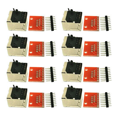 8pcs  8-pin Connector And Breakout Board Adapter Kit For Ethernet Jacks