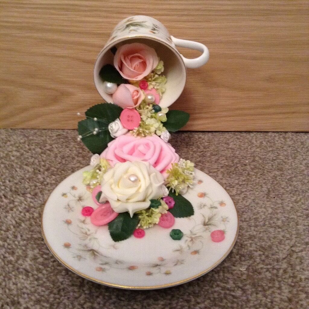 Hand Made Floating Tea Cup And Saucer With Waterfall Of