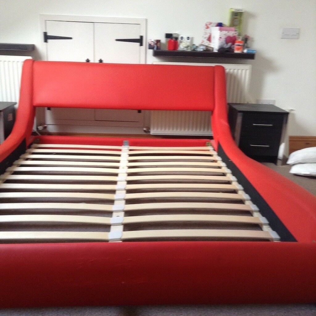 Red Faux Leather Low Level Bed Frame