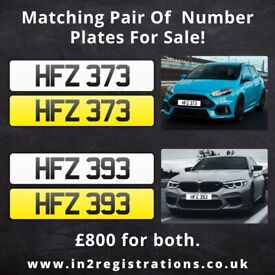 HFZ 373 & HFZ 393 Matching pair of NI number plates -Cherished Personal Private Registration plate