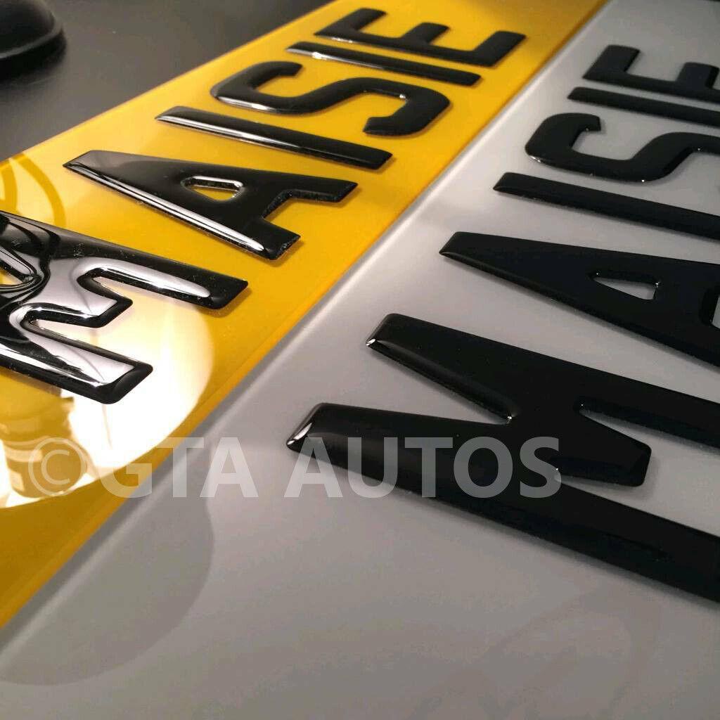 Car Parts - Pair Of 3D Gloss Black Domed Resin Raised Gel Reg Car Van Number Plates Legal
