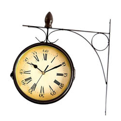 Antique Double Sided Wall Clock for Station Railway Outdoor Garden Decor