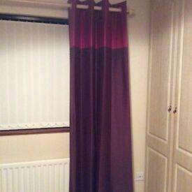 Next Plum Curtains with matching bedwear 54 x 90 - 2 sets