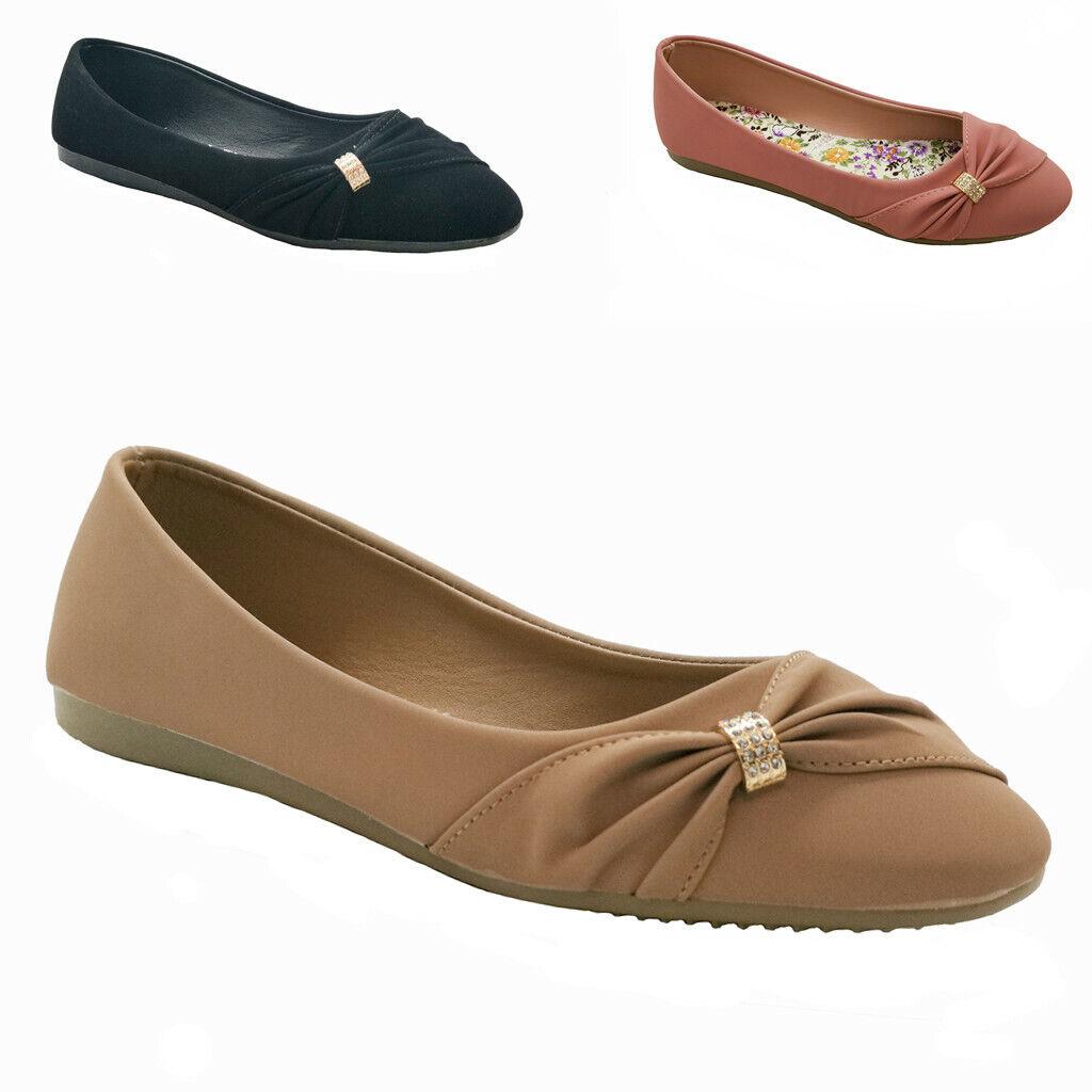New Women Cute Round Toe Slip On Dress Pump  Flat Shoes Blac