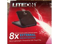 Liteon 8x External Slimline DVD -ROM Drive, Black