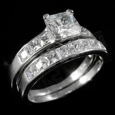 18k Sterling Silver Jewelry Set (.925 Sterling Silver 18k White Gold Wedding Princess Cut CZ Women's Ring)