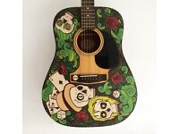 Hand painted full size guitar