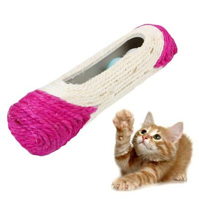 Pet Cat Kitten Toy Long Roller Sisal Scratch Scratching Post w/ Trapped Ball