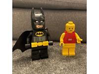 Lego Torch and Lego Batman Clock Figures