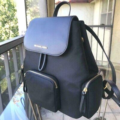 Michael Kors Women Lady Girls Large Nylon Leather Backpack Travel Shoulder Black