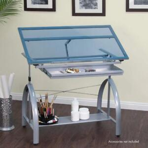 New, Slight Damaged Box, Studio Designs Avanta Drafting Table in Silver with Blue Glass (Pick-up Only) - DI11