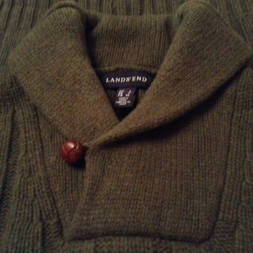 Men's Green Shawl Neck Winter Jumper from Lands' End Size Large