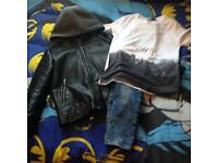 Boys river island jacket jeans and t shirt
