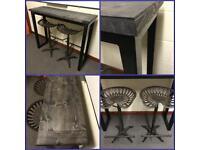 Breakfast bar/cast iron tractor stools/Reclaimed Wood/rustic/bespoke/steel/Furniture