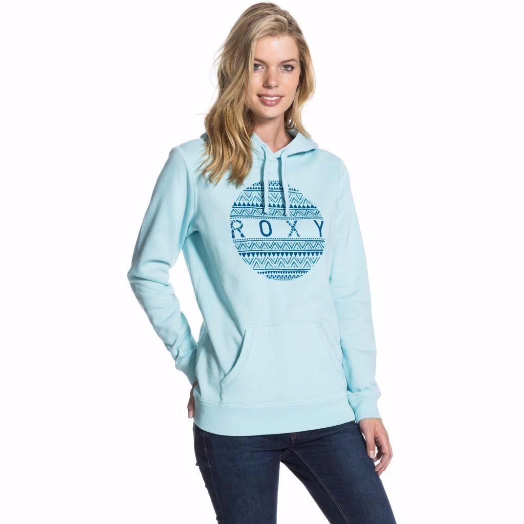 NEW ROXY hoodie ERJSF03015 SUDADERA CELESTE Cloud Blue SIZE XL