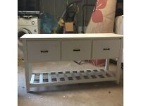White painted wood drawer and shelf unit