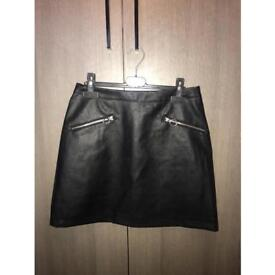 Black leather look skirt with zip details