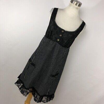 Free People 8 Dress Black Lace Button Tweed Skirt Bottom Sleeveless Short V4P