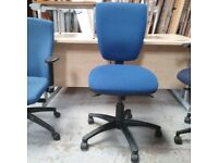 Office team Ltd blue fabric operator chair chair without armrests