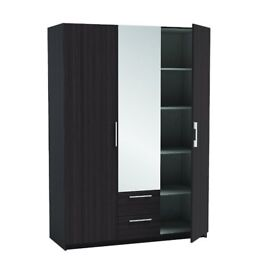 BRAND NEW 3 DOOR MIRRORED WARDROBE with 2 draws BLACK OR WHITE