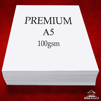 500 Sheets A5 PREMIUM 100gsm ULTRA WHITE Paper High Quality Copier Printer Laser