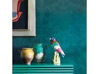 John Lewis Zoffany Villandry Wallpaper Blue/Green Damask