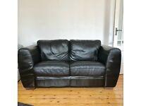 Black/ Dark Brown Leather Sofa