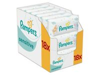 BNIB Pampers Sensitive Baby Wipes 18 pk, perfect for baby's delicate skin