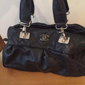 Chanel Style Black Genuine Leather Large Shoulder Bag Great Cond